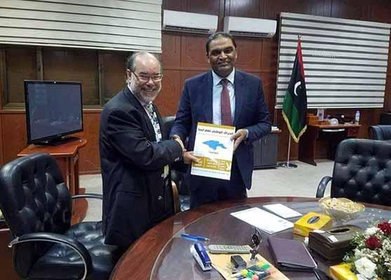 Visit of Professor Doctor Ehtuish Farag Ehtuish Chairman of the Board of Directors of the Yes Libya National Movement to Mr. Mohamed Abdul Wahid Maloum Al - Barasi Minister of Justice Commissioner of the Accord Government