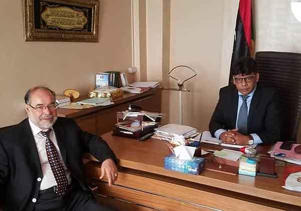 Prof. Dr. Ehtuish Chairman of the Yes Libya National Movement on an official visit to Mr. Siddiq Al-Sour, head of investigations department in the Attorney General's Office
